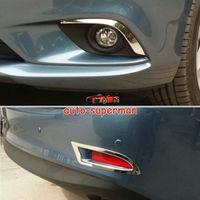 S. Steel 4pcs Frente + trás Bumper Fog Light tampa da lâmpada guarnição Chrome Para Mazda6 2014 2015|Estilo de cromo|   -