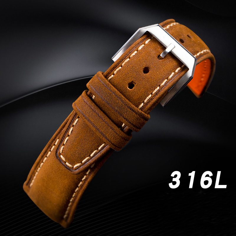 Hand-brushed Crazy Horse Leather Strap for San Martin Pilot Mark Watches Band 18 20 21 22MM Leather Strap for Male Wrist watch