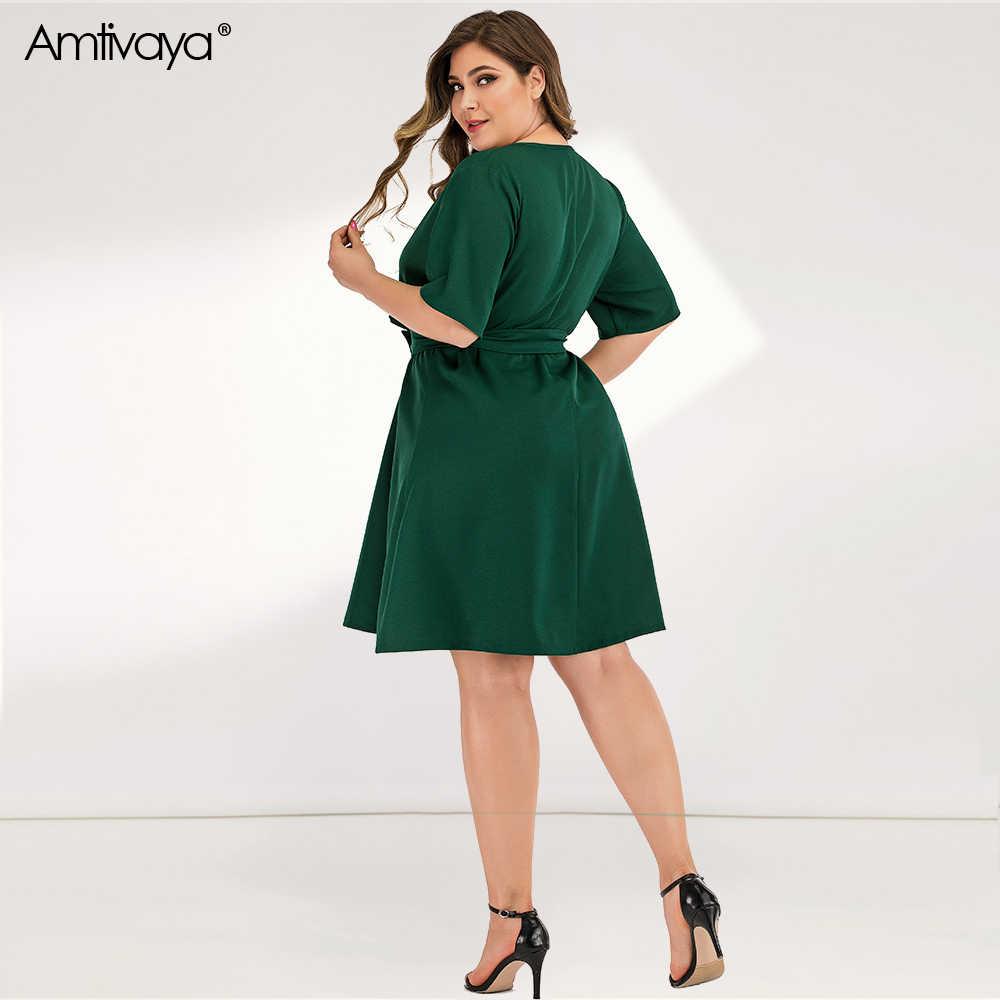 Amtivaya kadın artı boyutu elbise yaz 2020 giysi plaj seksi parti elbiseler uzun kollu V boyun gotik diz boyu midi elbise.