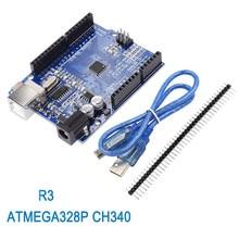 UNO için 10 adet R3 geliştirme kurulu ATmega328P CH340 CH340G Arduino için R3 düz Pin başlığı