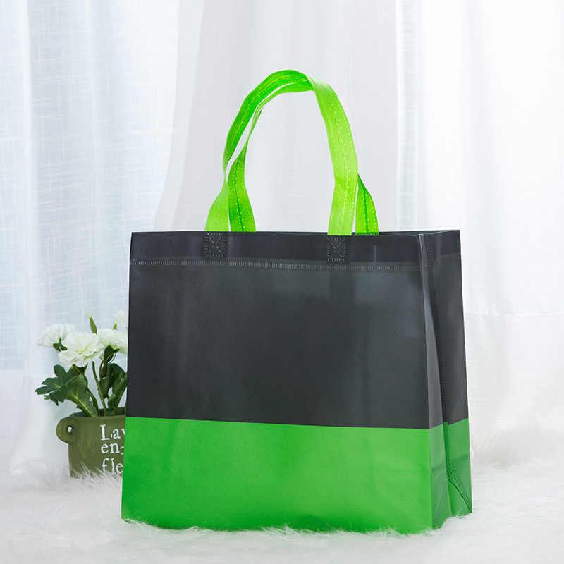 Nieuwe Opvouwbare Boodschappentas Herbruikbare Tote Pouch Folding Travel Shopper Tas Patchwork Kleur Stof Non-woven Eco Boodschappentassen