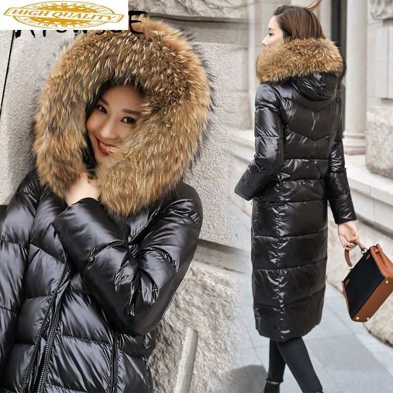 Winter Coat Women Korean White Duck Down Jacket Women Big Fur Collar Puffer Jacket Plus Size Warm Parka Abrigos 2019000 YY1644