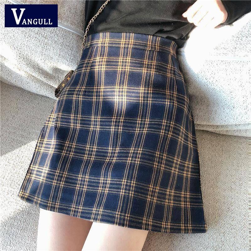 Vangull Vintage Plaid Women Skirts Summer Korean Fashion High Waist A-line Skirt Female Sexy Mini Short Checked School Skirt