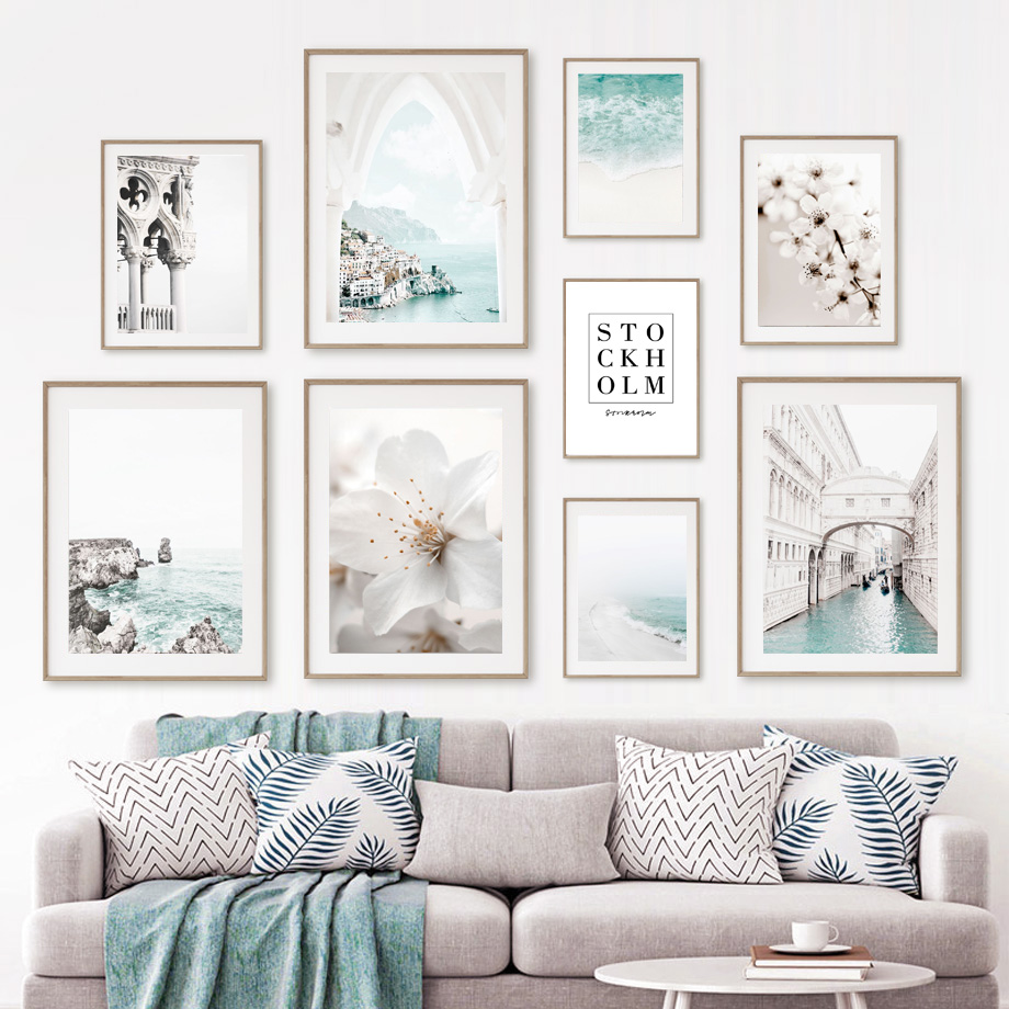 Aegean Sea Beach Stone Bridge White Flower Wall Art Canvas Painting Nordic Posters And Prints Wall Pictures For Living Room Deco
