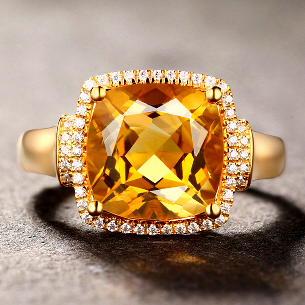 Luxury square citrine gemstones diamonds Rings for women femme 18k gold color big crystal precious anillos jewelry bague bijoux