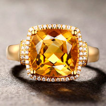 Luxury square citrine gemstones diamonds Rings for women femme 18k yellow gold big crystal precious anillos jewelry bague bijoux(China)