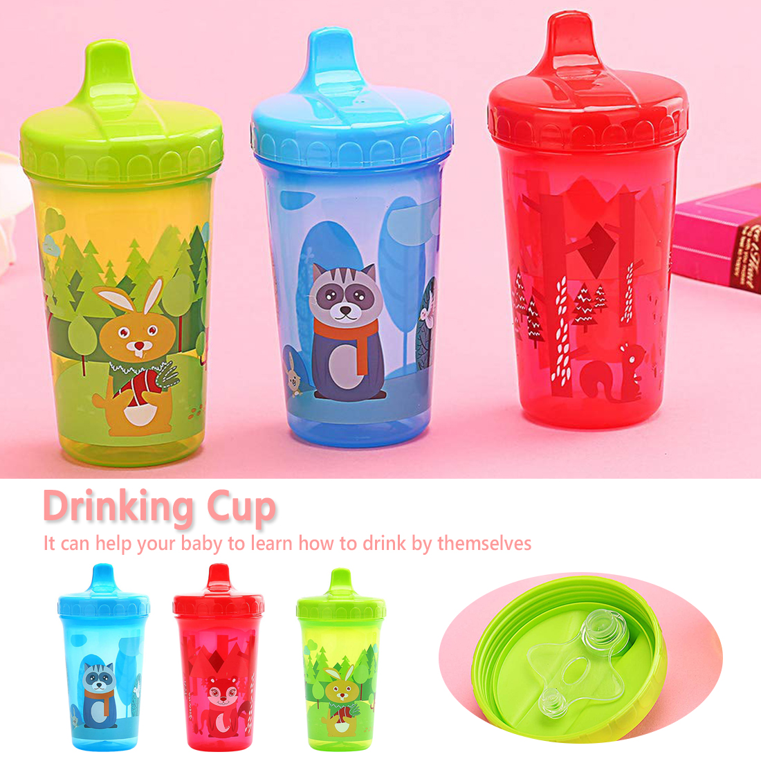 Baby Infant Leak Proof Cup Training Drinking Cup 300ml New Fox Bunny Children