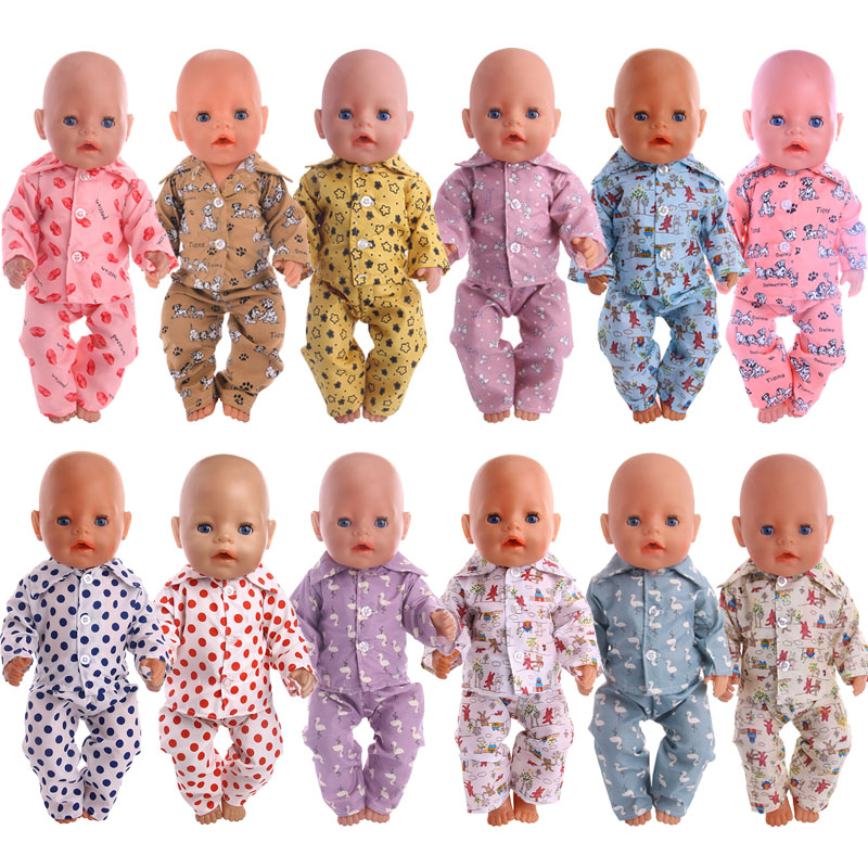 Doll Cartoon Pajamas&Nightgown Fit 18Inch American&43CM Born Baby Clothes Accessories Generation,Birthday Girl's Russia Toy Gift