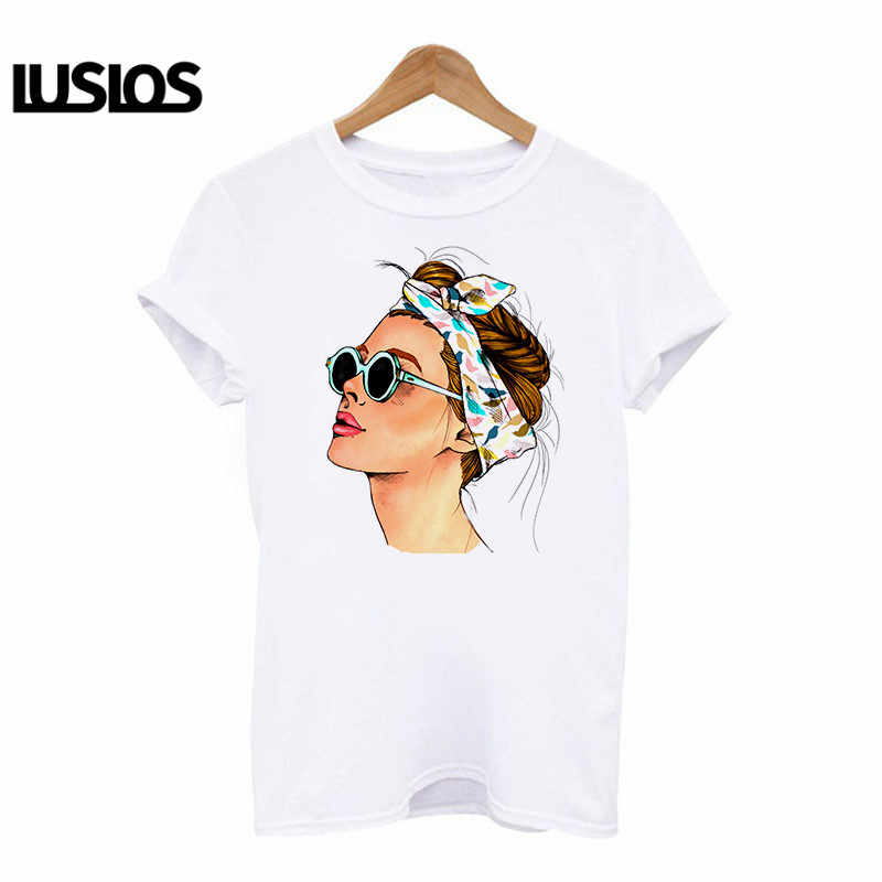 LUSLOS women oil painting t shirt moden confident lady print tshirt plus size women short sleeve casual white graphic t-shirts