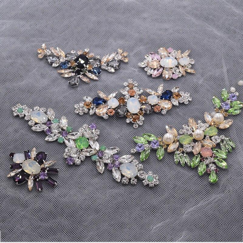 Hot sale Exquiste flor opala strass apliques para mulheres clothings costura belt sash vestido de casamento decorações pathces