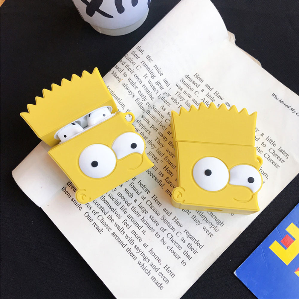 3D Cute Cartoon Bart Simpson Shockproof Headphone Case For Apple Airpods 1/2 Silicone Protection Earphone Skin Cover Accessories