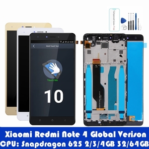 Image 1 - For Xiaomi Redmi Note 4 Global 4GB 64GB LCD Display Frame Touch Screen Panel Redmi Note 4 Pro Snapdragon 625 LCD Digitizer Parts