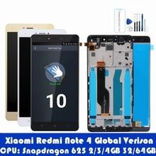 Для Xiaomi Redmi Note 4 Global 4 Гб 64 Гб рамка ЖК дисплея Сенсорная панель Redmi note 4 Pro Snapdragon 625 ЖК дигитайзер Запчасти