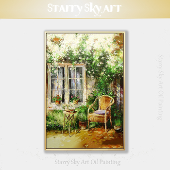 Hand-painted Summer Time Courtyard Oil Painting on Canvas Beautiful Landscape Courtyard and Chair Oil Painting for Wall Decor