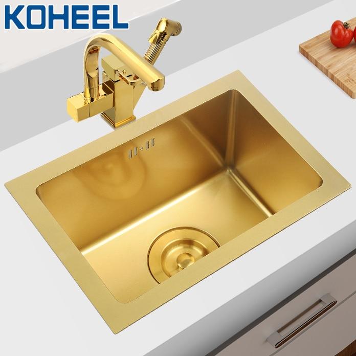 KOHEEL Gold Single Bowl Kitchen Sink Handmade Above Counter Or Udermount Vegetable Washing Black Sink Stainless Steel FKS17