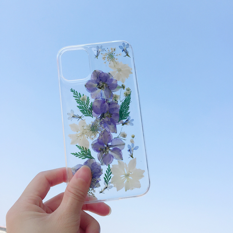 Dry Pressed Real Flower Phone Cases For iPhone 11 X XR XS Max 6 6S 7 8 Plus 11 Pro Max Glitter Floral Transparent Silicone Cover|Fitted Cases| |  - title=