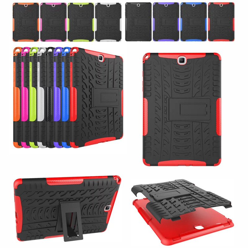Hybrid Stand Hard Silicone Rubber Armor Cover for Samsung Galaxy Tab A 9.7'' SM T550 P550 <font><b>P555</b></font> T555C Tablet Cover Case image