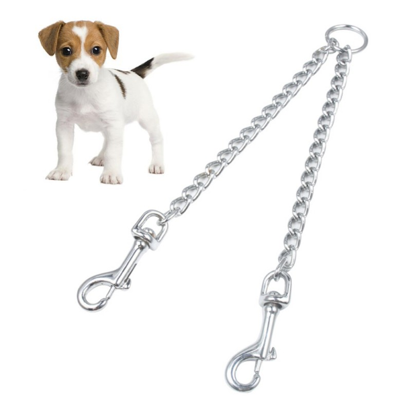 Pet Dog Leash Metal Chrome Chain Collars Harnesses Walking Training Leash Double For 2 Way Pet Dogs Training Tool Supplies 2020