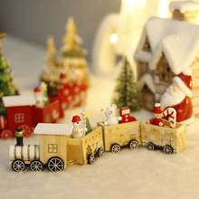 LuanQI Christmas Decorations For Home Wooden Train Craft Toy Santa Claus Ornaments Christmas Gift Pendant Decorations Natal 2021