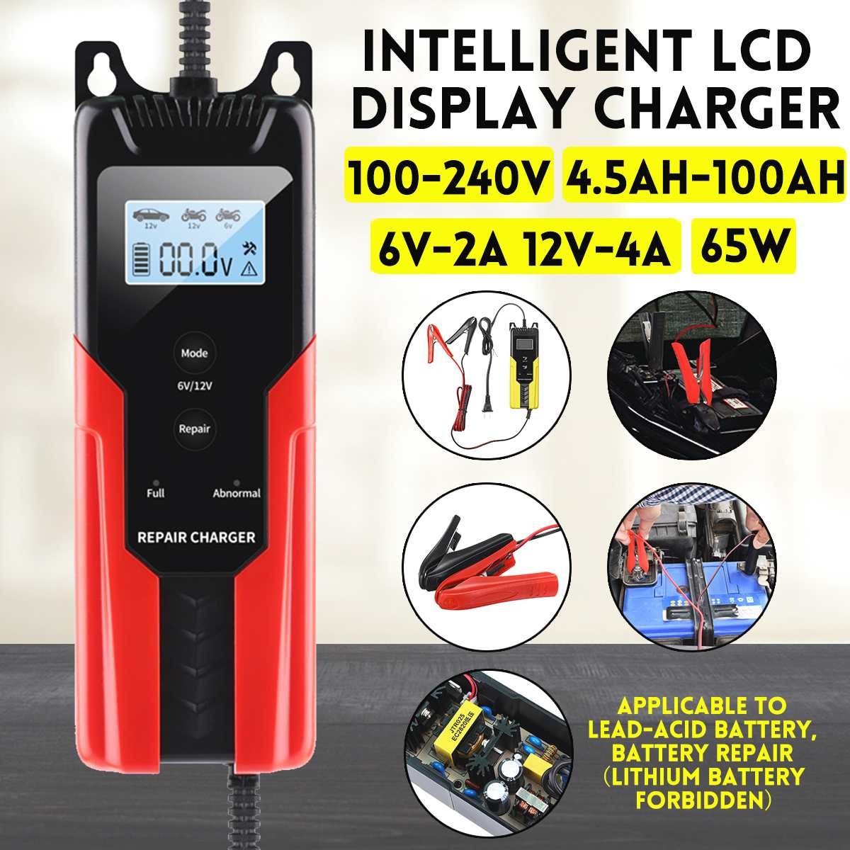 4.5-<font><b>100AH</b></font> Automatic Charging Motorcycle <font><b>Car</b></font> <font><b>Battery</b></font> Charger Intelligent Repair Type 6V-2A 12V-4A For Lead Acid Storage Charger image