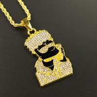 150 PCS Twist Chain Fashion Black Image Cool Men's Hip Hop Iced Out Pendant Necklace Rock Party Jewelry Gifts