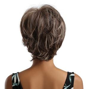 Image 3 - ALAN EATON krótkie falowane syntetyczne peruki mieszane brązowe srebrne włosy peruki z bocznymi grzywkami dla czarnych kobiet Afro włókno termoodporne