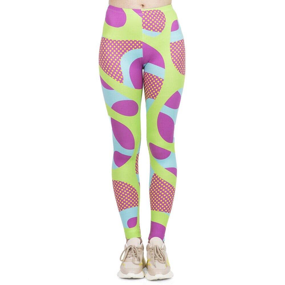 Hot Sales Women Fashion Leggings High Elasticity Legins Workout Jogging Pants Fluorescent Squiggle Pop Printing Sport Leggins