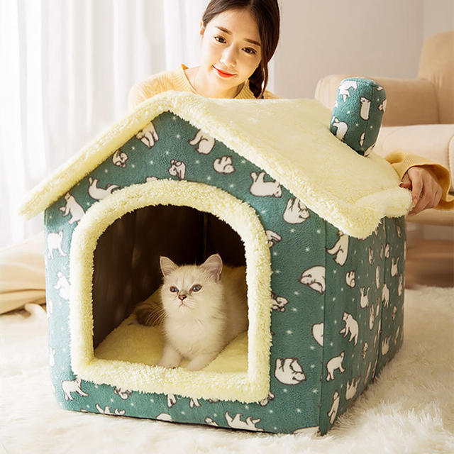 Removable Cat Bed House Kennel Nest Pet Nest Cat Tent Dog Bed Warm Dog House Cushion Sofa Bed Pet Products Cat House Pet Bed 2