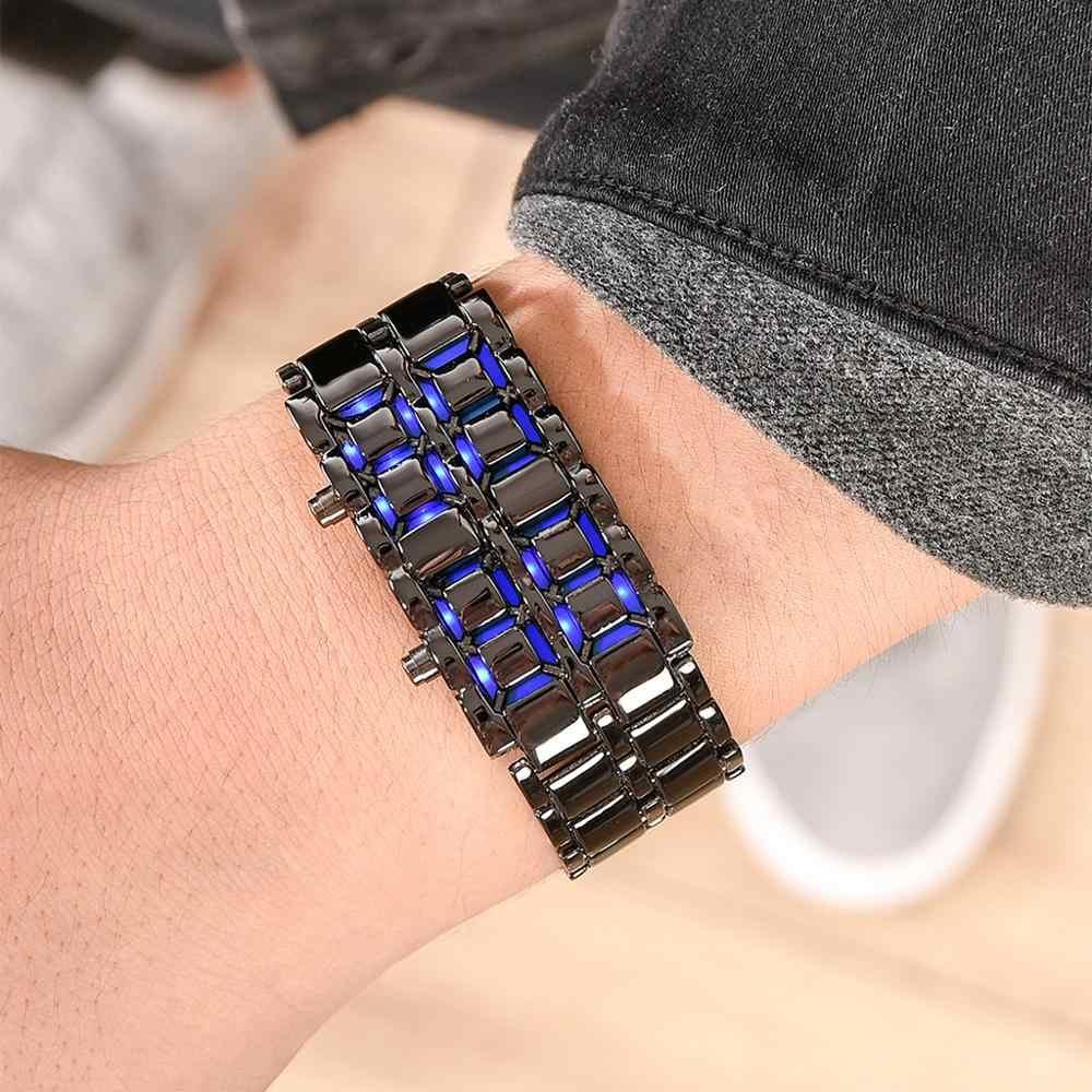 Lava Iron Samurai ผู้ชายนาฬิกาสแตนเลสสตีลนาฬิกา LED นาฬิกาผู้ชายกีฬานาฬิกาอิเล็กทรอนิกส์นาฬิกา Led ดิจิตอลนาฬิกา reloj hombre