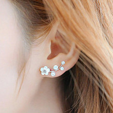 Ear Stud Earrings Branch Flower Fabala Simple Modern Pearl Cute(China)