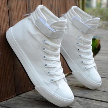 Sapatas de lona dos homens Primavera Outono 2018 Lace-up High Style Black Flats shoes Juventude Estudantes Shoes Hot Sale Vulcanize Shoes W 1