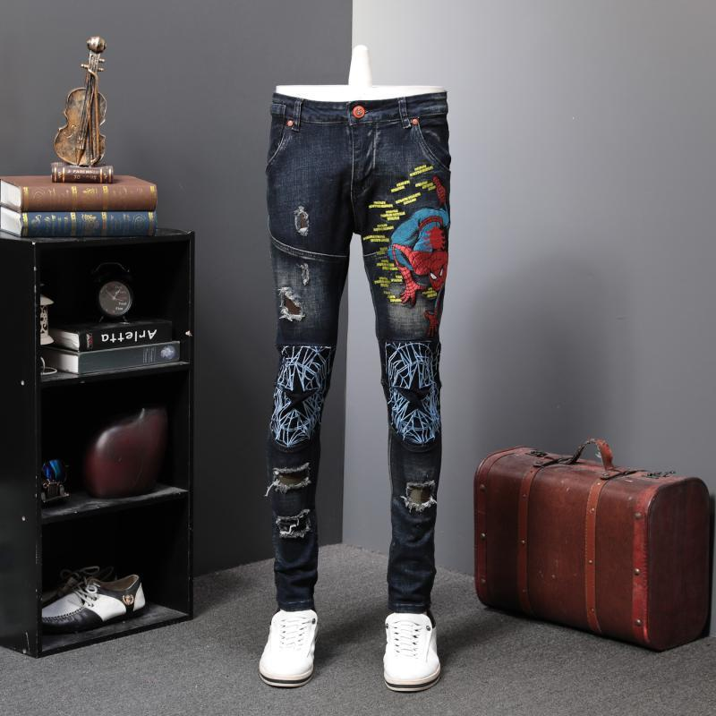 2019 Personality Self-cultivation Elastic Force Directly Canister Spider Chivalrous Embroidery Jeans Male Holes Trend Long Pants