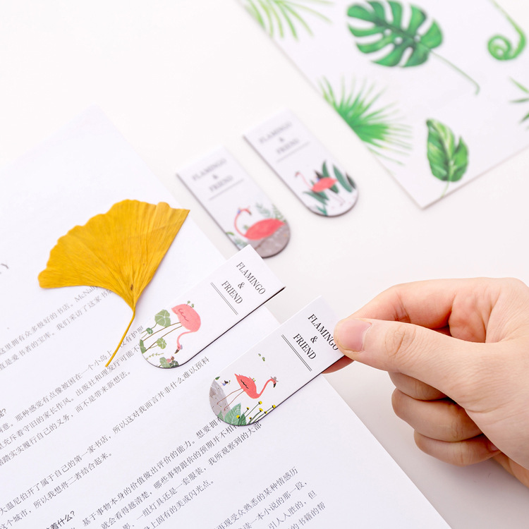 South Korea Cute Cartoon Flamingo Magnetic Bookmark Creative Mini Book Holder Doubled Book Holder Sub-Gift For Student