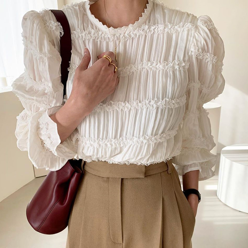 COIGARSAM blouse women Full Sleeve Chiffon Lace O-Neck S Fold blusas womens tops and blouses White Black 6390