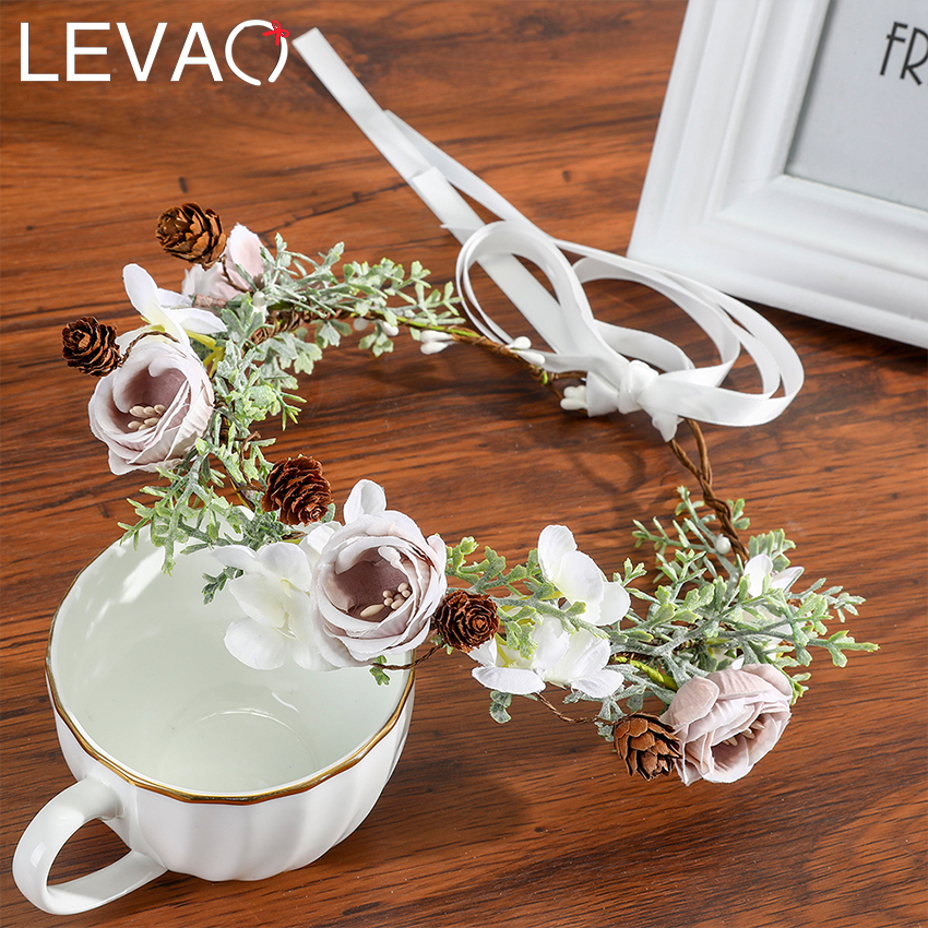 Levao Women Wedding Floral Crown Head Band Floral Head Wreath Flower Headband Bridesmaid Bridal Garland Forehead Hair Band