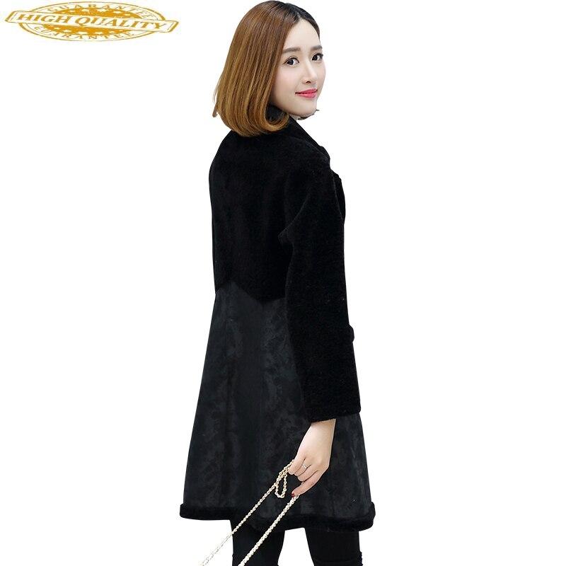 2020 Fashion Sheep Shearling Jacket Women's Real Fur Coat Female Double-faced Wear Warm Winter Jackets For Women WYQ1684