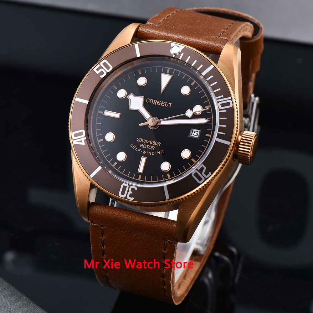 Corgeut 41mm Automatic Mechanical Watch Men Schwarz Bay Leather Strap Luxury Military Luminous Waterproof Calendar Wristwatch