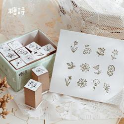 12 sztuk/zestaw salt style śliczne drewniane i gumowe stemple dla DIY scrapbooking dekoracja bullet journal rzemiosło Kawaii|Pieczątki|   -