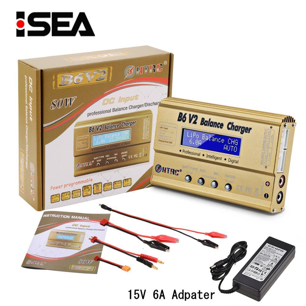 HTRC LiPo ladeger/ät Balance Ladeger/ät f/ür LiPo NiCd Li-Ion Li-Fe NiMH LiHV PB Smart Batterie B6V2 80W 6A Gold