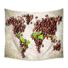 Vintage granos de café colgante de pared decoración de pared cortina artística manta hoja toalla tiro mantel decorativo comodidad tapiz