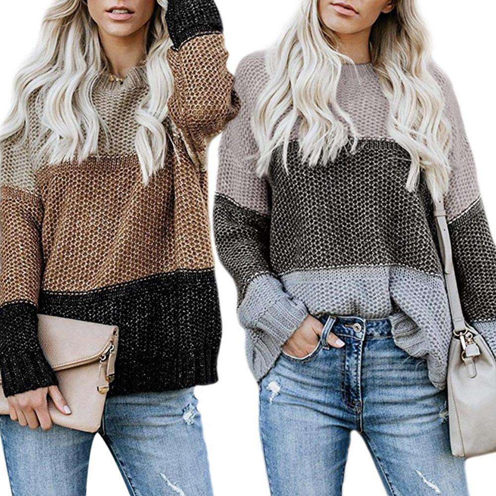 Fashion Honeycomb 3 Color Splicing Women O Neck Long Sleeve Loose Knit Sweater