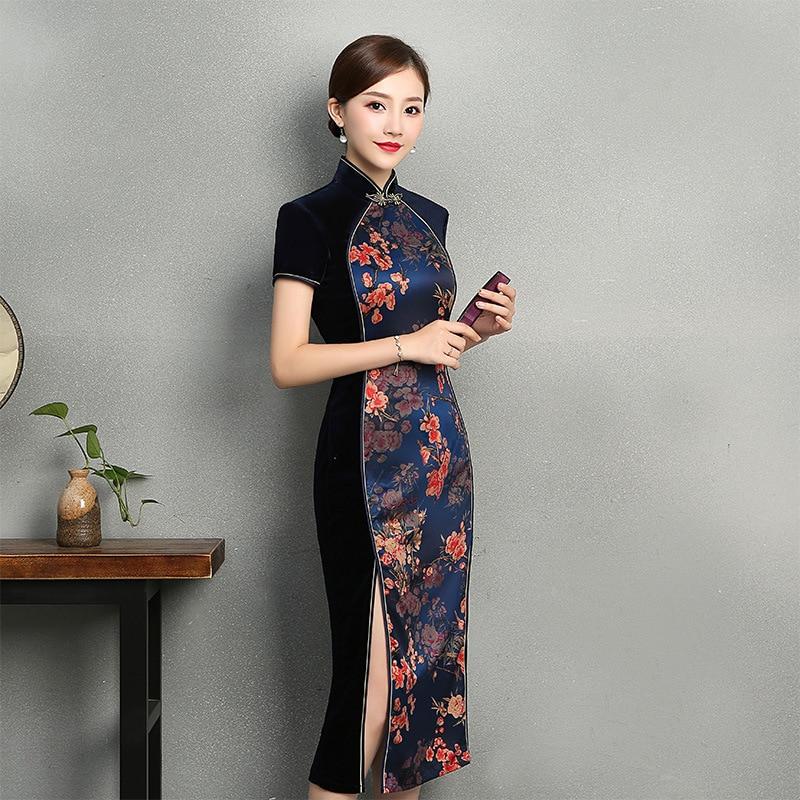 2018 New Style Daily Life Cheongsam Improved Fashion Slim Fit Mid-length Cheongsam Autumn & Winter Velvet Embroidery Retro Cheon