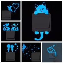 Blue-light Luminous Switch Sticker Home Decor Cartoon Glowing Wall Stickers Dark Glow Decoration
