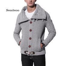 Мода Винтаж свитер кардиган мужчины зима теплая водолазка свитера вязание трико Рога перемычки пряжки толстый свободного покроя пиджаки