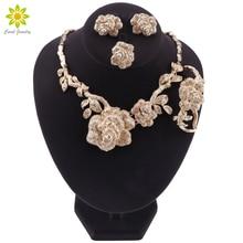 Dubai Fashion Jewelry Sets Necklace Earrings Ring Bracelet Flower Shape Pendant Crystal Jewelry Dubai Bridal Wedding Jewelry