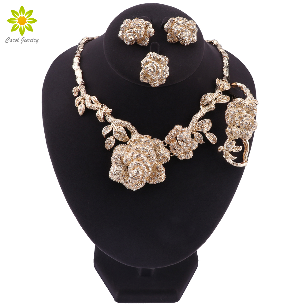 Dubai Fashion Jewelry Sets <font><b>Necklace</b></font> <font><b>Earrings</b></font> <font><b>Ring</b></font> <font><b>Bracelet</b></font> Flower Shape Pendant Crystal Jewelry Dubai Bridal Wedding Jewelry image