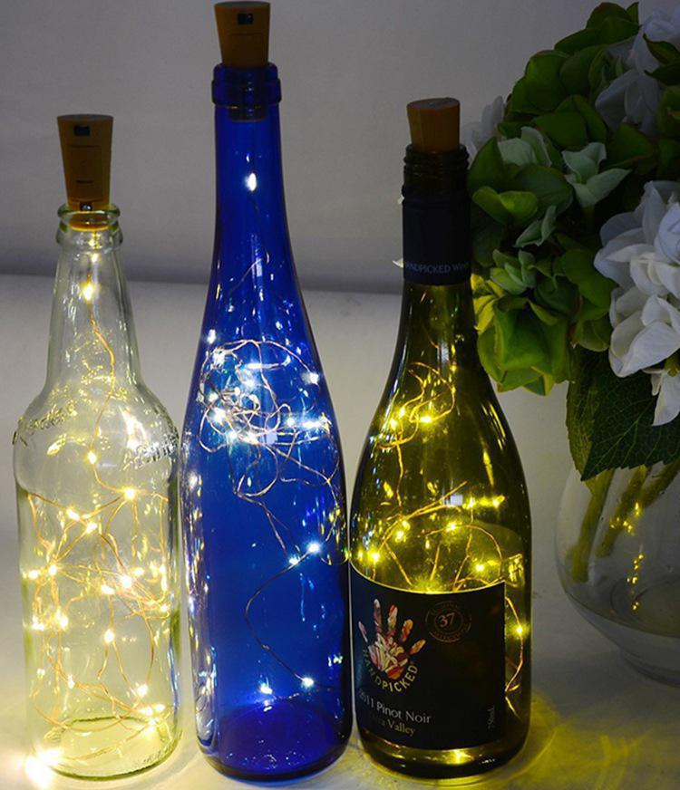 1M/2M 10/20LEDs Waterproof Wine Bottle Lights With Cork LED Cork Shape Silver Copper Wire Colorful Fairy Mini String Lights