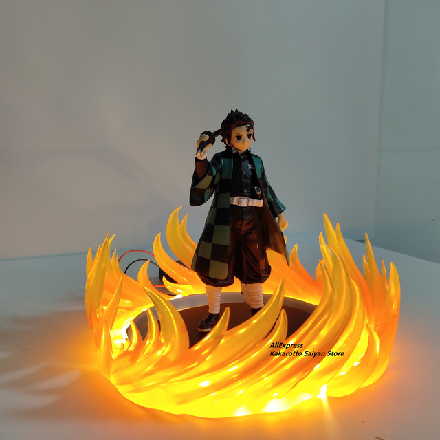 Demon Slayer Tanjirou PVC Action Figures Led Dance of the Fire God Effect Kimetsu no Yaiba Figurine Anime Model Toys