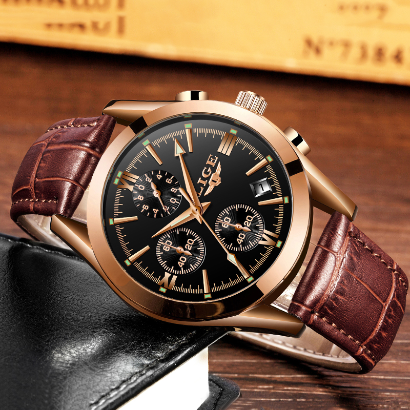 Image 3 - montre homme LIGE Fashion gold Mens Watch Leather Analog Quartz watches Men 30M Waterproof Sport Chronograph Date Male Clock+box-in Quartz Watches from Watches