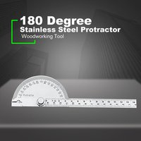 14.5cm 180 graus ajustável transferidor braço de aço inoxidável rotativo multifunções roundhead ângulo régua carpintaria ferramenta medição|Transferidores|Ferramenta -